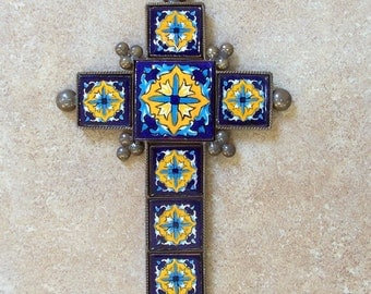 """Reserved Metal cross wall decor vintage look hand made of ceramic tile and metal 9"""" x 6.25"""" tile design with marigold flowers"""