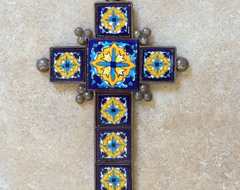 """Blue metal cross wall decor vintage look hand made of ceramic tile and metal 9"""" x 6.25"""" tile design with marigold flowers"""