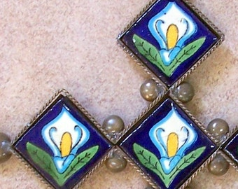 """Metal cross wall decor vintage look hand made of ceramic tile and metal 9"""" x 7"""" tile design with marigold flowers"""