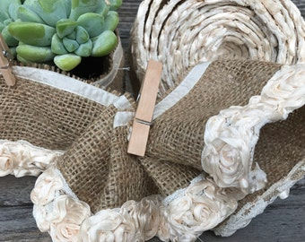 Natural Jute Flowers Ribbon
