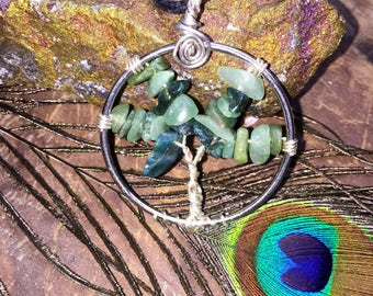 Moss Agate and Aventurine Tree of Life Pendant