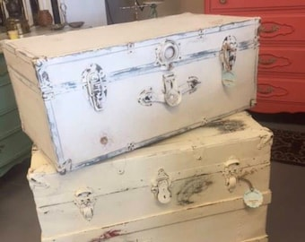 Antique Shabby Cedar lined Trunk