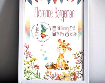 Birth Announcement Watercolor Nursery Animal Cute Illustration Baby Girl Boy Gift Printable Digital Poster Baby Shower Decor Newborn Stats