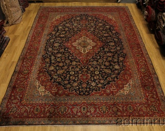 Semi Antique Navy Blue Ardakan Kashan Persian Oriental Area Rug Carpet 9X13