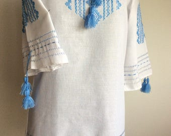 Clothing Ukrainian Embroidery Blouse Traditional Vyshyvanka. Handmade Tunic