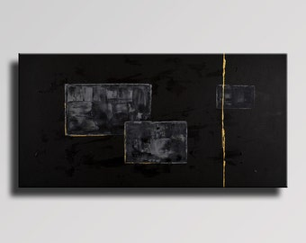 LARGE ABSTRACT PAINTING Black Gray Gold Painting Original Canvas Art Contemporary Abstract Modern Art 48x24 Wall Decor - Unstretched - 01Bi1
