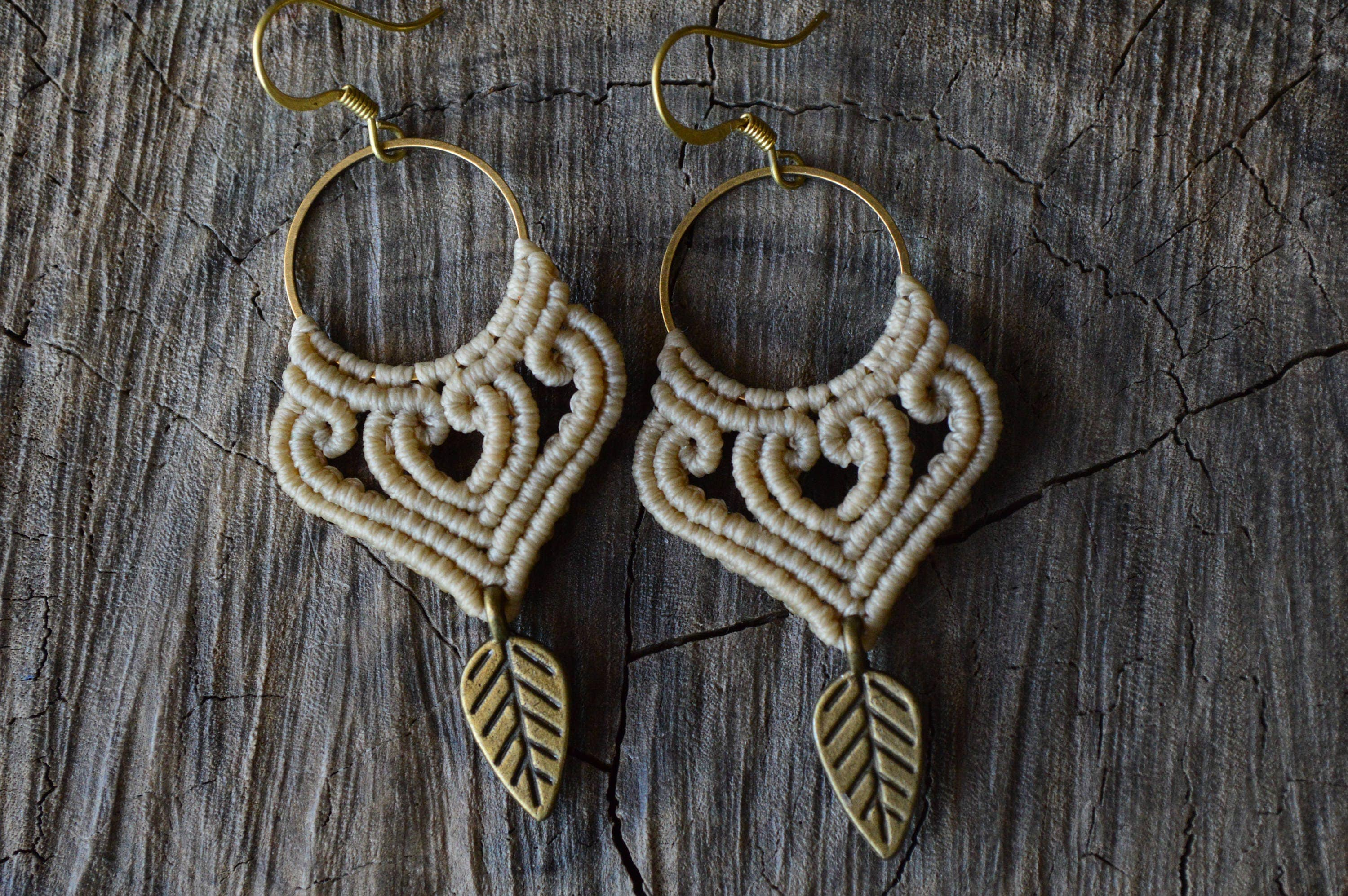 macrame hoops macrame hoops earrings with leaf boho macrame earrings 1931
