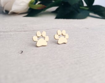 Paw Ear Studs in Gold   Animal Print Dog Paw Earrings Minimalist Earrings Fashion Jewellery in Gold Colour nickel free