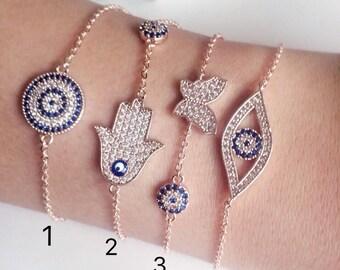 Evil eye bracelet, rose gold bracelet, gold hamsa bracelet, adjustable bracelet, gold plated bracelet, evil eye beaded bracelet, evil eye