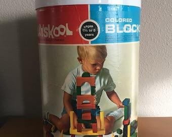1969 Playskool Colored Blocks- Complete Set in Original Box
