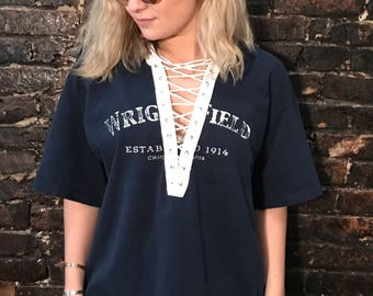 Vintage Wrigley Field Lace-up Tee (XL)