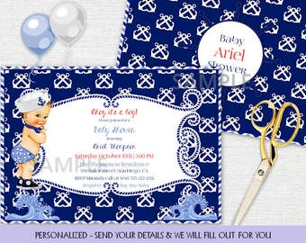 Little Sailor Vintage Baby Boy | Nautical Navy Blue | Caucasian Skin Tone | Personalized Digital Invitation