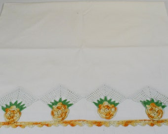 "Vintage Orange Crocheted Roses Pillowcase with Crochet Trim 31"" x 21"" Mid Century"