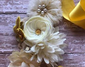 Maternity Sash, Beige & Yellow Maternity Sash, Gold and Beige Maternity Sash, Maternity Flower Sash,ribbon