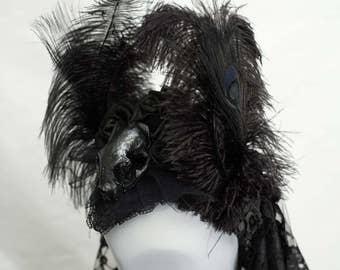 Unique catskull (resin) black peacock headpiece