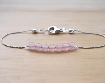 Rose Quartz Bracelet, Sterling Silver Bracelet, Rose Quartz Jewelry, Gemstone Jewelry, Thin Gemstone Bracelet, Gemstone Bracelet