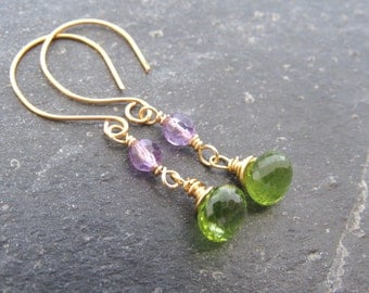 Peridot Earrings, Amethyst Earrings, August Birthstone,Purple Green Earrings, gemstone earrings, gift women,gift for her, gift for mom