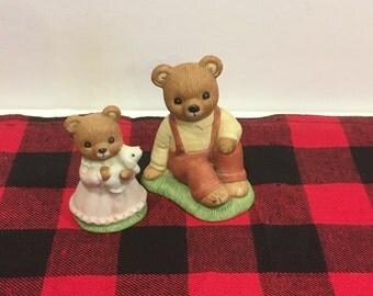 Vintage homco Bears, Minature Bears, ceramic bears, decor, toy, kids,bears, bear, animals, homco, cottage,mshabby chic