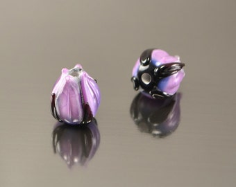 Purple black Lampwork Flower Buds beads handmade flower lampwork glass artisan sra shic making jewelry rigorous stylish violet violaceous