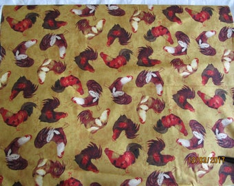 Tan fabric with Rooster print