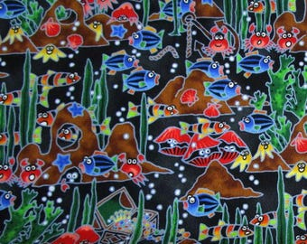 Ocean Sealife printed fabric with fish, clams, crabs and more