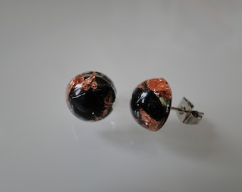 Mini-studs with sheet copper and Hematite