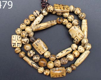ANCIENT Pattern Bicone Pumtek Fossil Wood Bead NAGALAND Hillstribe Strand #5479