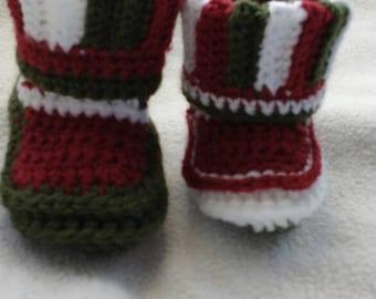 Baby Christmas booties crochet/Babychristmasbooties crochet