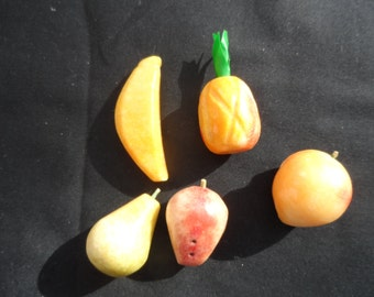 Gift For Collector of Miniatures  Set Of 5 Frouts Carved From Stone  Pear Peach, Pineapple, Banana, Apple     1012