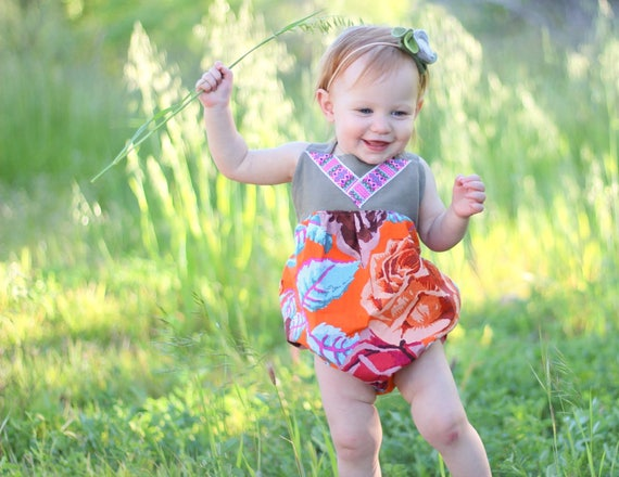 Size 6-12M, Bubble Romper, Boho Birthday Outfit, Boho Chic Romper, Floral Romper, Boho Romper, Bubble Romper for Little Girl