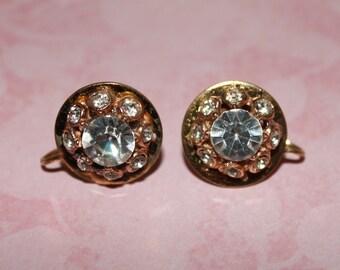 Vintage Rhinestone Earrings, Screw Back Earrings, Gold Tone Earrings