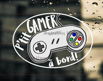 GAMER on board,baby on board-sticker-player-windshield sticker-vinyl-kid-gift-nintendo-geek-video game play