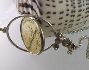 Coin pendant/French coin pendant/ French pendant/Sterling Silver chain/ Sterling Silver pendant/ gold pendant/gold/Silver/ spinning pendant