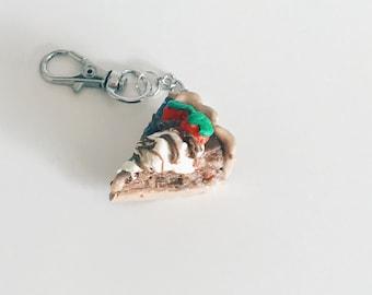 Handcrafted Strawberry Cake Polymer Keychain