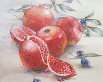 Original pomegranate watercolor by InterArtShop Greek still life kitchen art