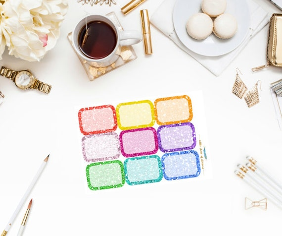 Glitter Half Boxes || Weekly Planner Stickers, Stickers For Planning, Half Box Stickers, Planning Decor, Decorating Stickers