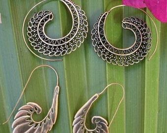 2 PAIRS!Brass Spiral Earrings, Mandala Earrings, Spiral Earrings, Brass Jewellery,Mandala Earrings, Ethnic Jewellery, Tribal Earrings