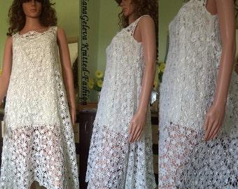 Ladies dress white crochet / custom