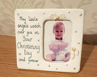Christening Photograph Frame White Porcelain Ceramic Angels Keepsake