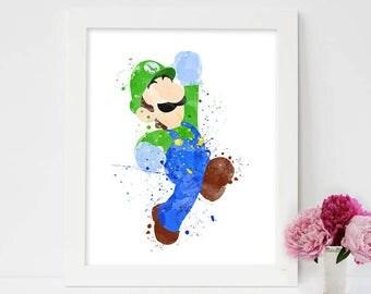 SET of 4 Prints, Super Mario Poster, Watercolor Art, Supermario painting, Supermario toad, Supermario Princess Peach, Supermario Bros