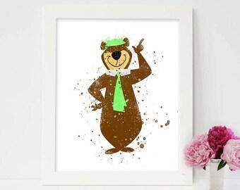 Yogi Bear, Yogi wall art, Animals print, Bear poster, wall art, Watercolor painting, Cartoon Character, Hanna Barbera, Cartoon Poster art