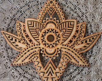 Bohemian Hand Painted Wooden Laser Cut Lotus Flower Wall Hanging