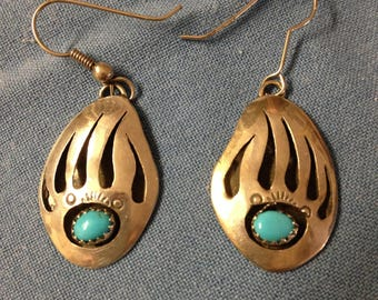 Native American Silver Turquoise Bear Claw Earrings