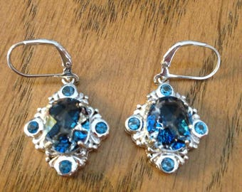 Sterling Blue Stone Earrings