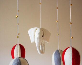 READY TO SHIP - Hot Air Balloon Baby Mobile - Elephant Baby Mobile - Nursery Decor - Felt Baby Mobile - Crib Mobile