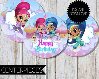 Shimmer and Shine Birthday Party PRINTABLE Circles Centerpieces- Instant Download | Nickelodeon | 4 inches circles | Cake Topper