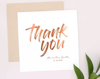 The Personal Touch 'Thank-You from the new Mr and Mrs/Mrs and Mrs/Mr and Mr' Greeting Card, Rosegold, Copper, Foil