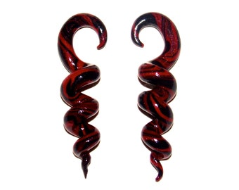 Black and Red Corkscrew Spiral 6 Gauge 4mm Handmade Clay Earrings