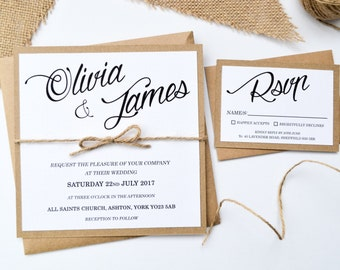 Rustic Wedding Invitation - Kraft Twine Stationery with RSVP