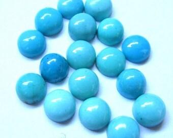 10 pieces 6mm Turquoise Cabochon Round Gemstone - Sleeping Beauty Arizona - TURQUOISE Round Cabochon Gemstone - Turquoise Cabochon Round